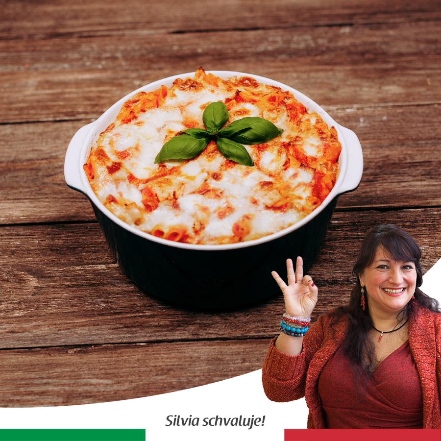 Zapečené těstoviny s křupavou mozzarellou