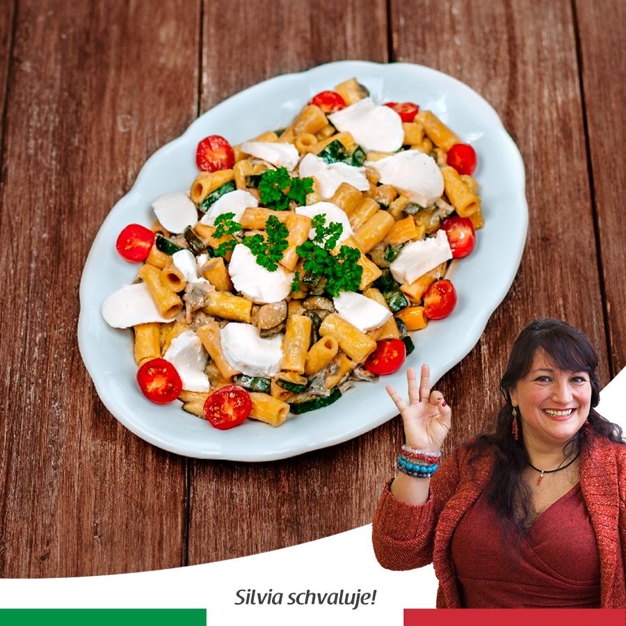 Těstoviny scuketou a mozzarellou